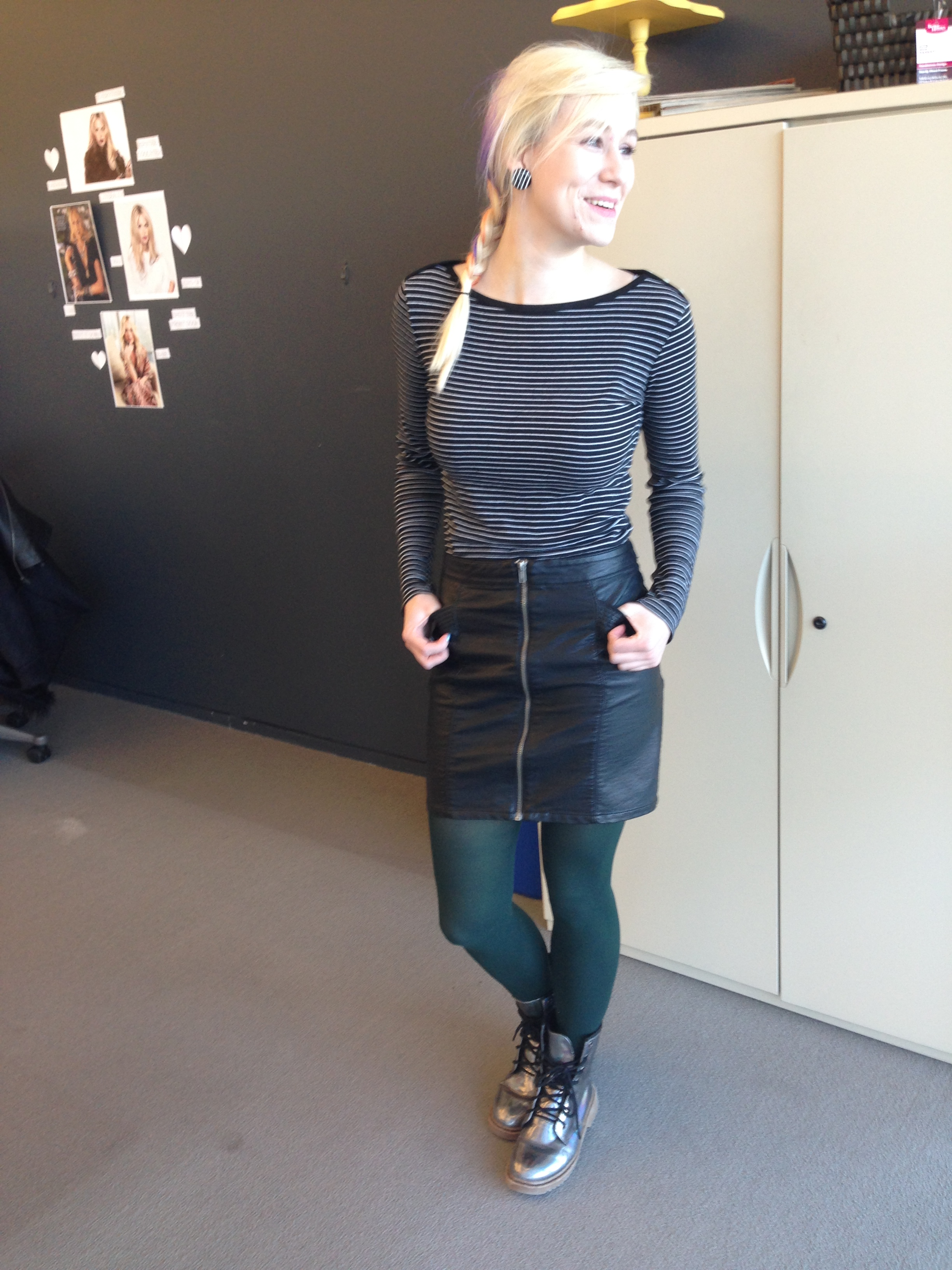 ootd leather and stripes